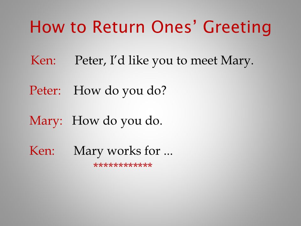 How to Return Ones' Greeting
