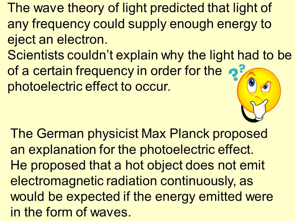 The wave theory of light predicted that light of any frequency could supply enough energy to eject an electron.