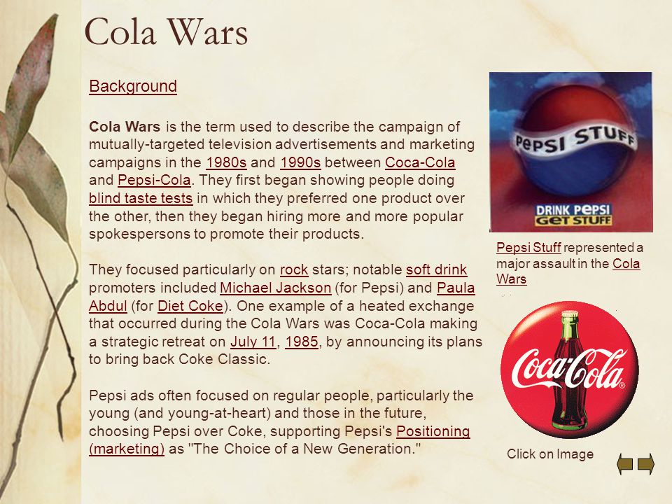 cola wars continue coke and pepsi in the twenty first century Cola wars continue: coke and pepsi in the twenty- first century as given in exhibit 1 per capita consumption of carbonated soft drinks has rose from 1970 to 1999 but in year 2000 there has.