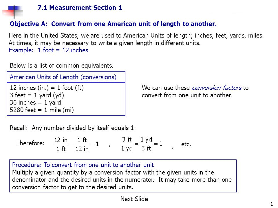 Objective A Convert From One American Unit Of Length To Another