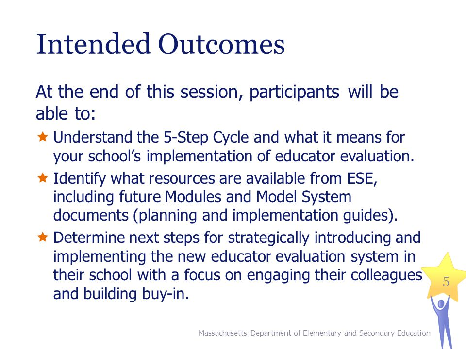 Intended Outcomes At the end of this session, participants will be able to: