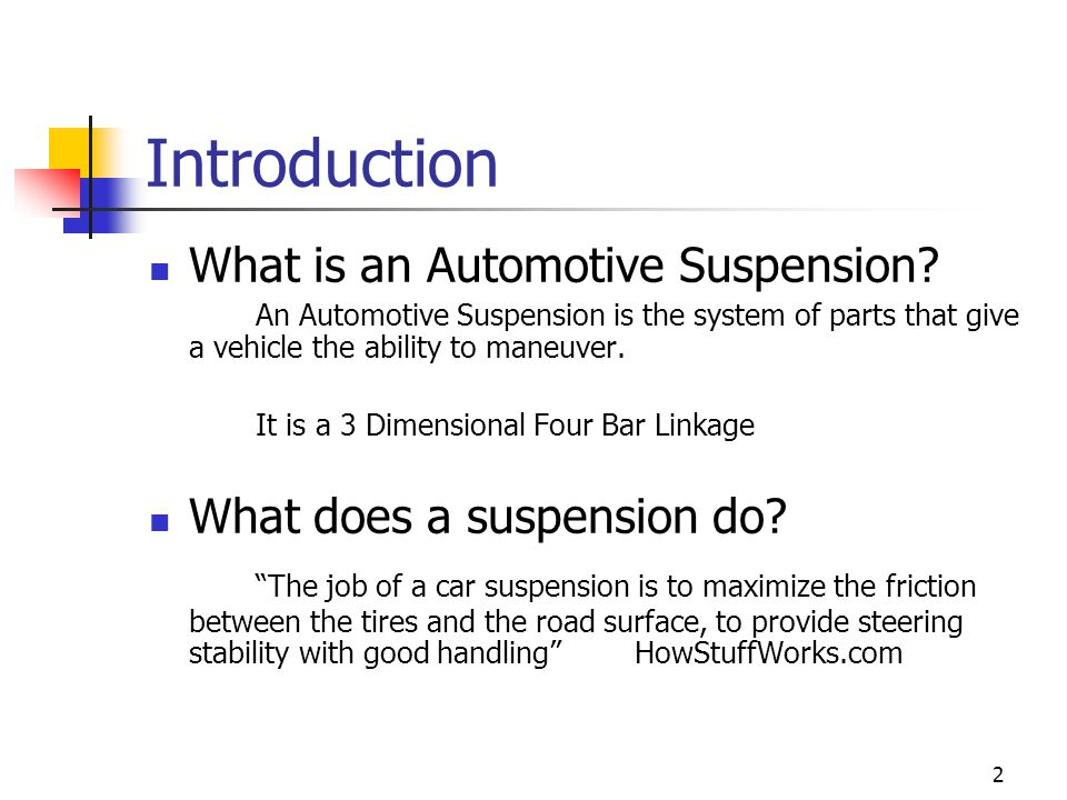 Introduction What is an Automotive Suspension