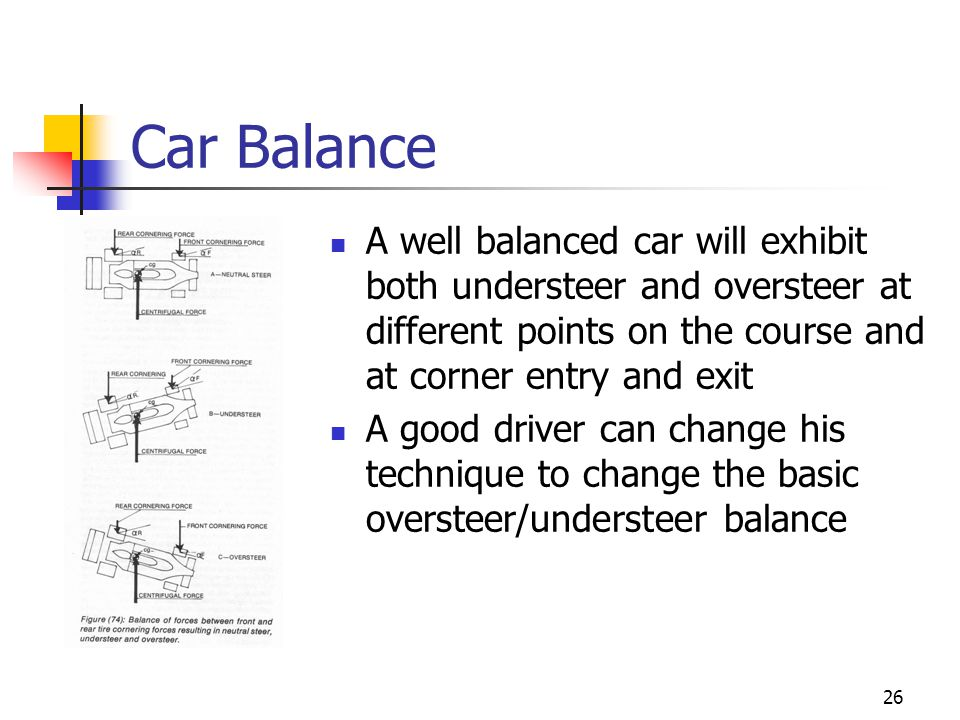 Car Balance A well balanced car will exhibit both understeer and oversteer at different points on the course and at corner entry and exit.
