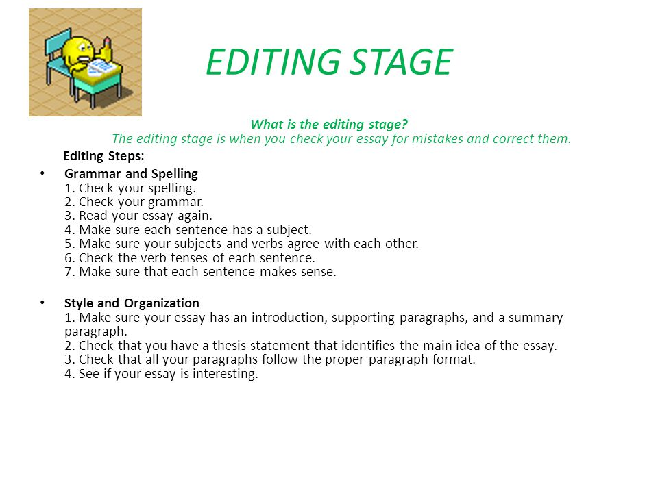 EDITING STAGE What is the editing stage The editing stage is when you check your essay for mistakes and correct them.