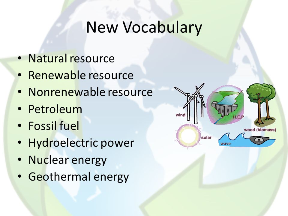 New Vocabulary Natural resource Renewable resource