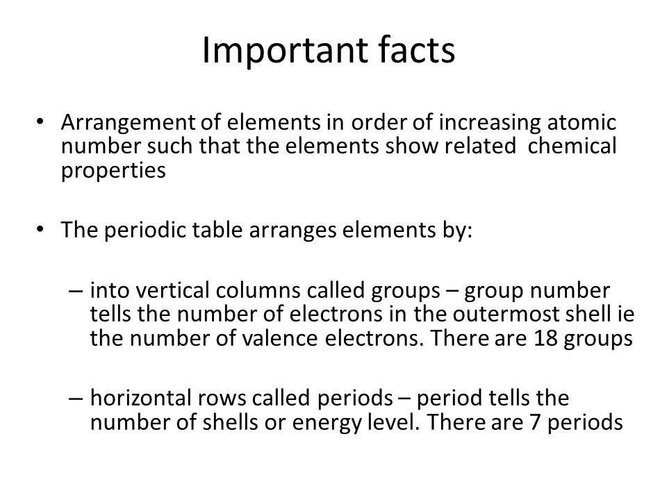 Periodic table ppt video online download important facts arrangement of elements in order of increasing atomic number such that the elements show urtaz Images