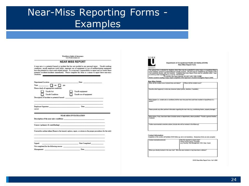 Near-Miss Reporting Forms - Examples