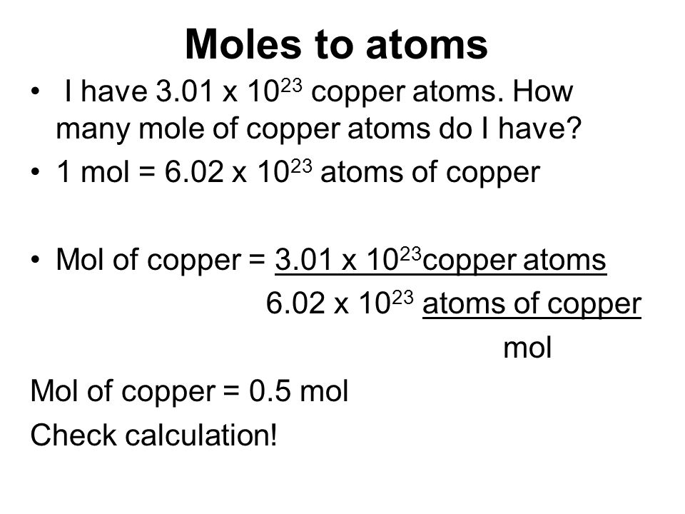how to get atoms from moles