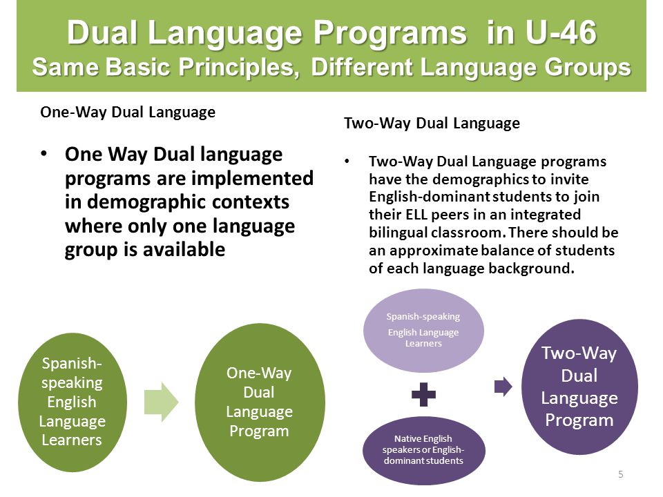 Dual Language Programs in U-46 Same Basic Principles, Different Language Groups