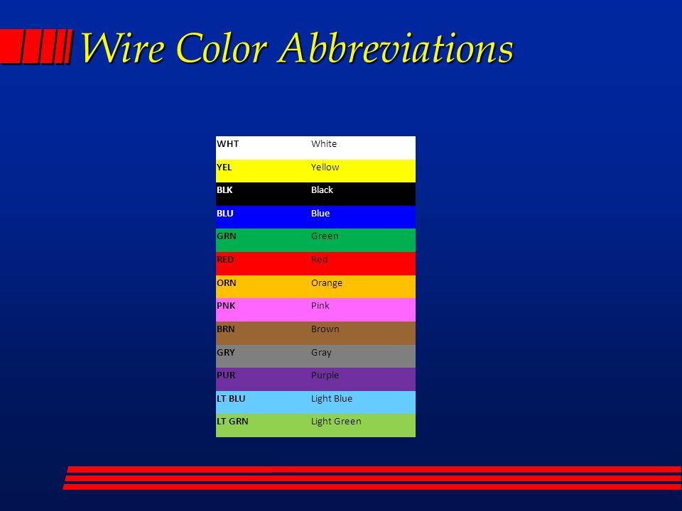 Wire Color Abbreviations     WIRING    DIAGRAMS