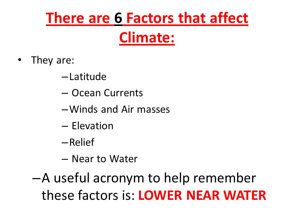 what are the six factors that affect climate