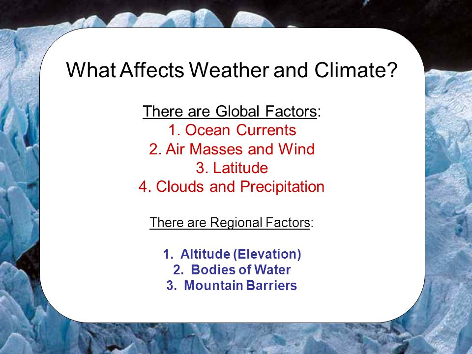 What Affects Weather and Climate