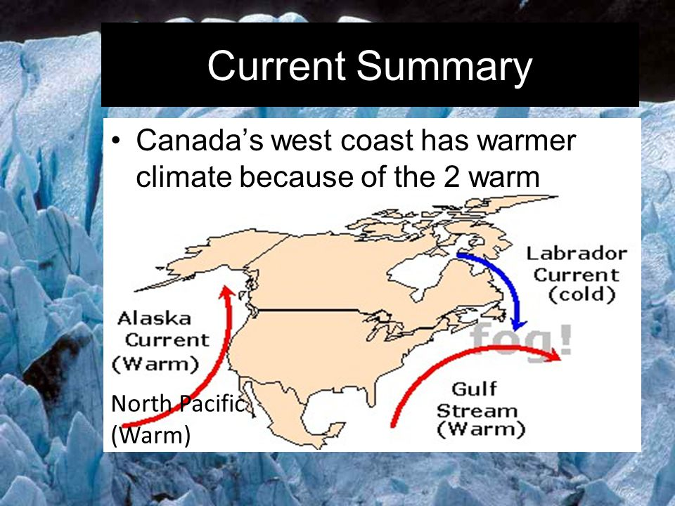 Current Summary Canada's west coast has warmer climate because of the 2 warm currents there.