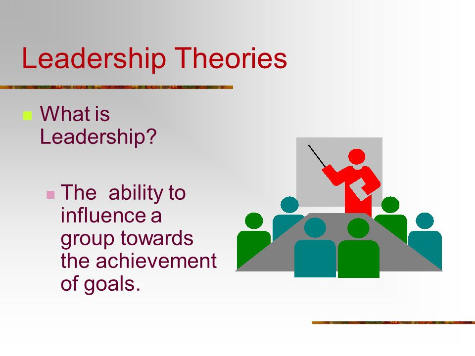applying leadership theories essay Various theories since years have been formulated by psychologists to explain the traits of a leader certain traits of a good leader were listed by the then there is a third theory which emphasises that leadership is a transformation or a process anyone can become a leader by learning the leadership.