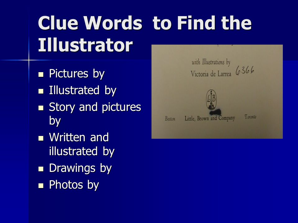 Clue Words to Find the Illustrator