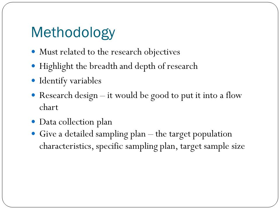 Methodology Must related to the research objectives