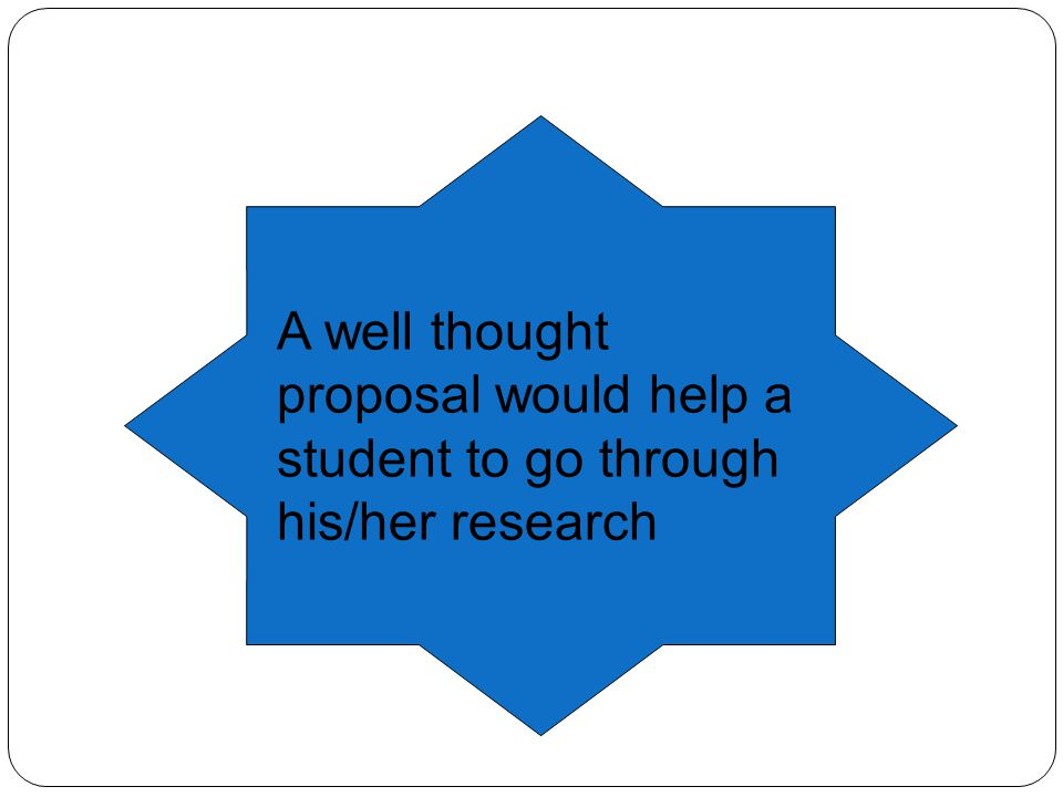 A well thought proposal would help a student to go through his/her research