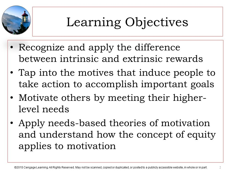 Learning Objectives Recognize and apply the difference between intrinsic and extrinsic rewards.