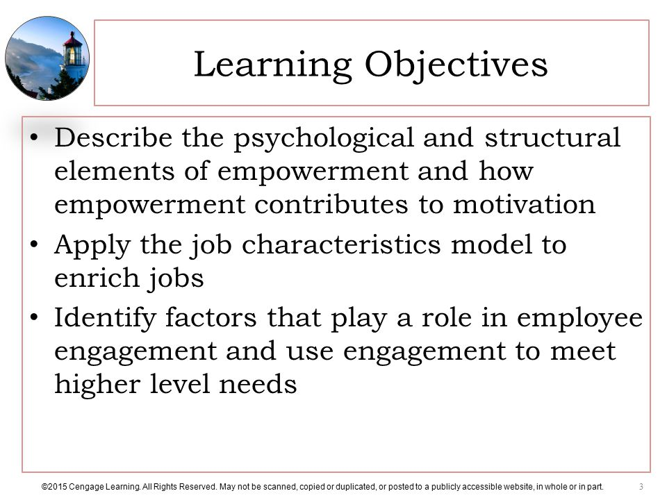 Learning Objectives Describe the psychological and structural elements of empowerment and how empowerment contributes to motivation.