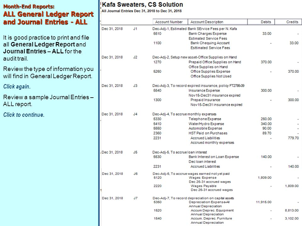 ALL General Ledger Report and Journal Entries - ALL