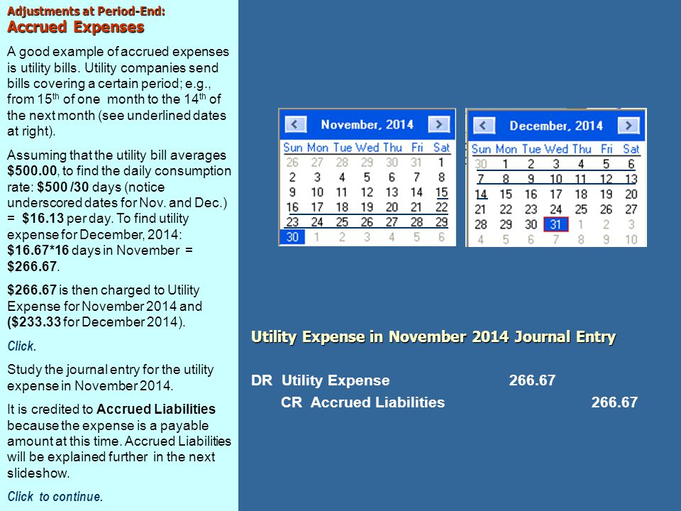 Utility Expense in November 2014 Journal Entry