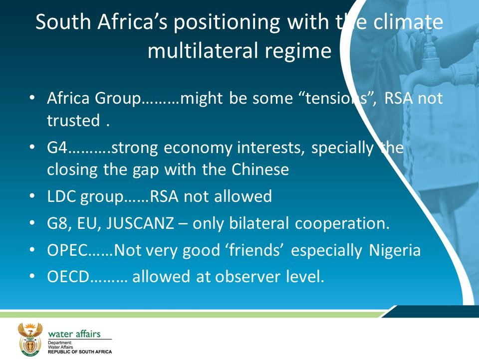 South Africa's positioning with the climate multilateral regime