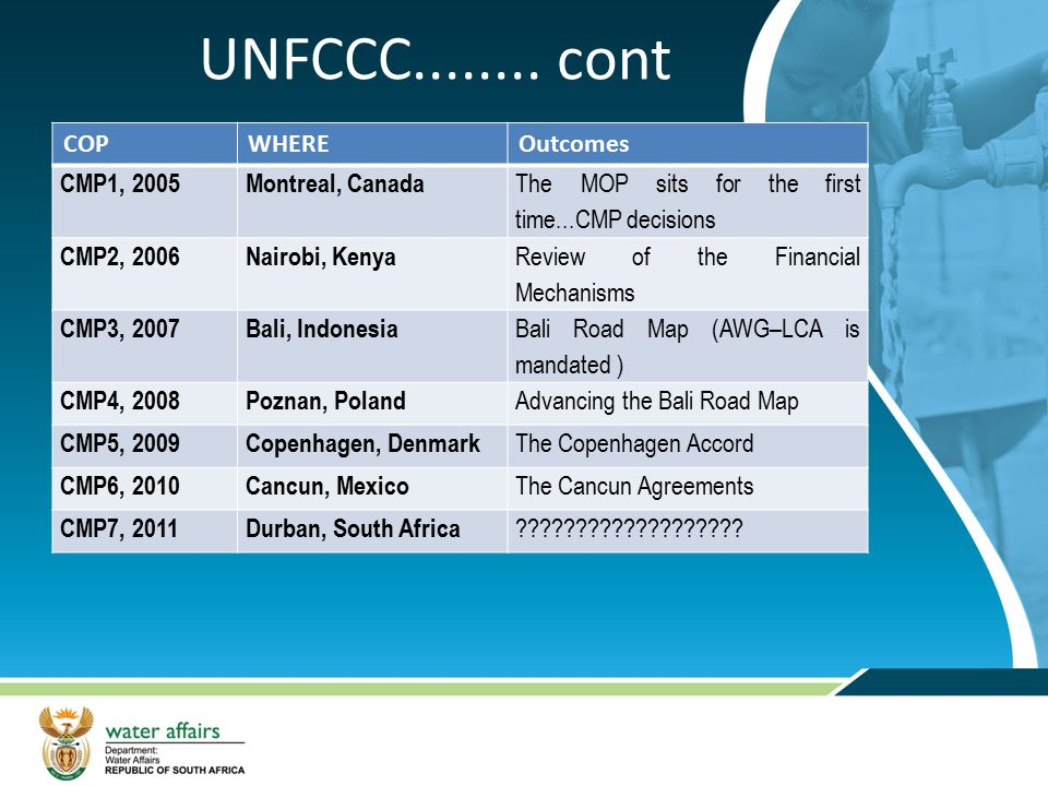 UNFCCC cont COP WHERE Outcomes CMP1, 2005 Montreal, Canada