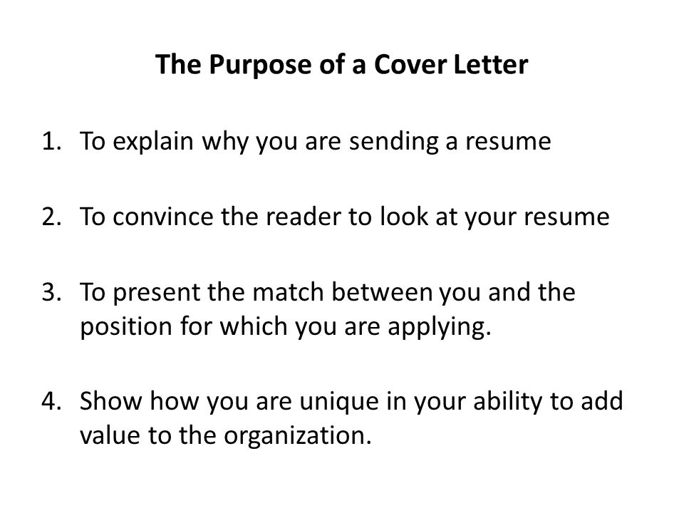 purpose of a cover letter writing cover letters ppt 24171