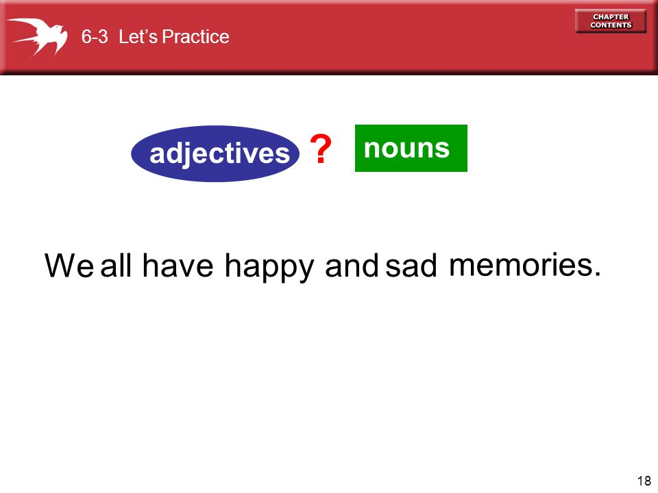 We all have happy and sad memories. nouns adjectives