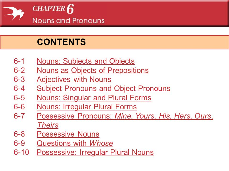 CONTENTS 6-1 Nouns: Subjects and Objects