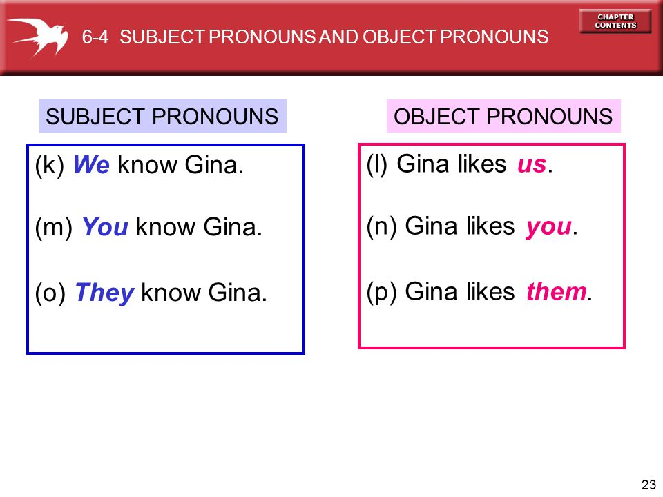 (k) We know Gina. (l) Gina likes us. (m) You know Gina.