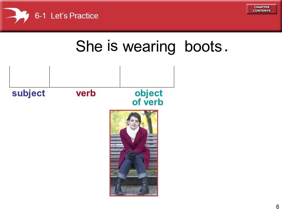 6-1 Let's Practice is . She wearing boots subject verb object of verb