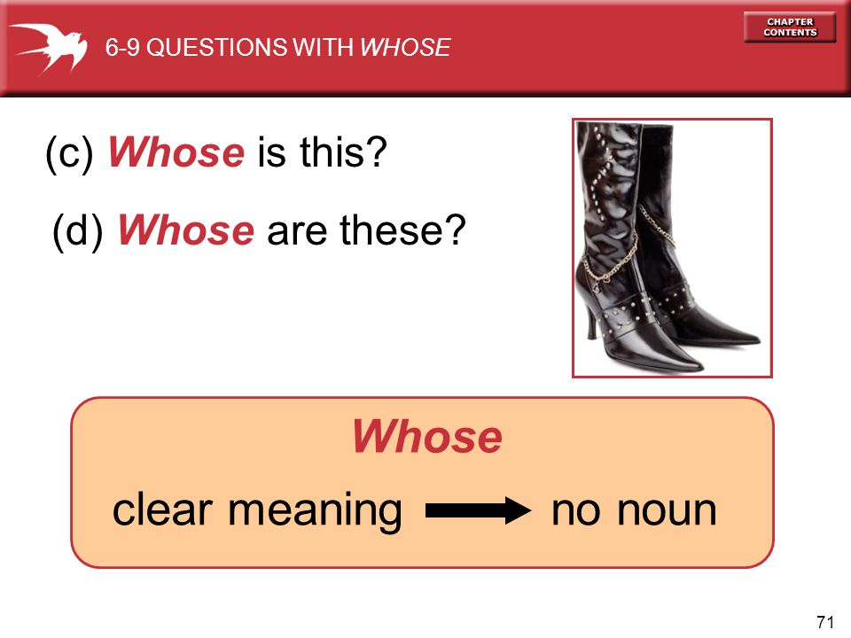 Whose (c) Whose is this (d) Whose are these clear meaning no noun