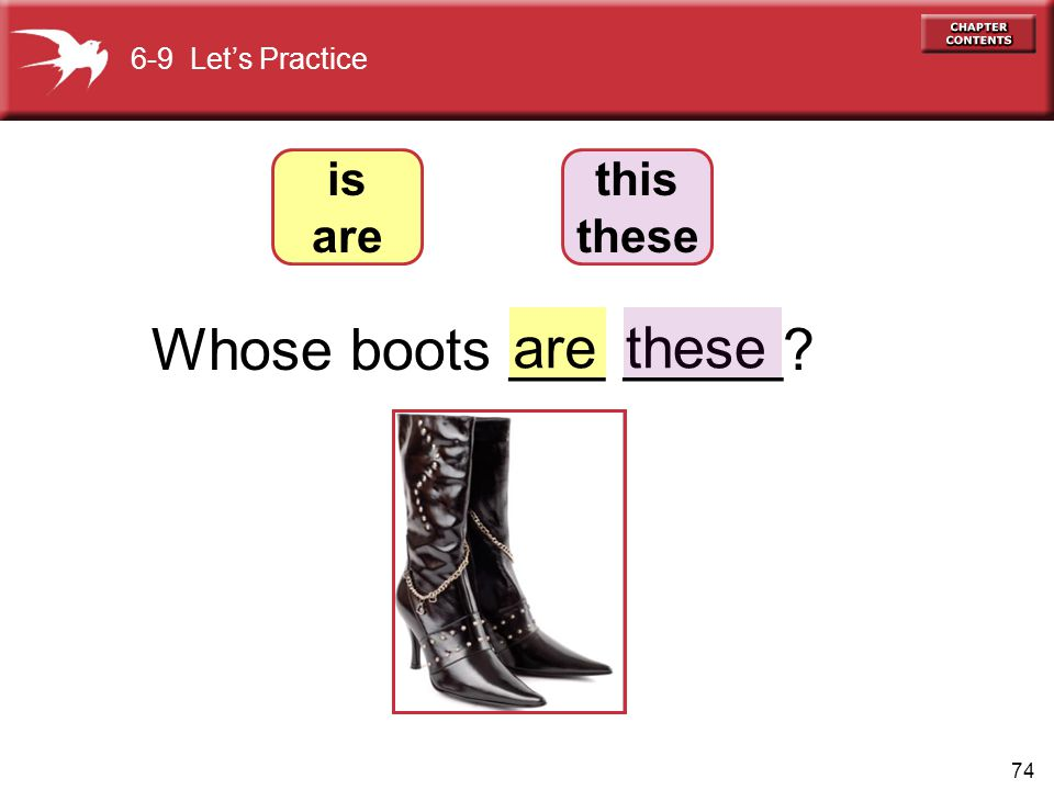 Whose boots ___ _____ are these is are this these 6-9 Let's Practice