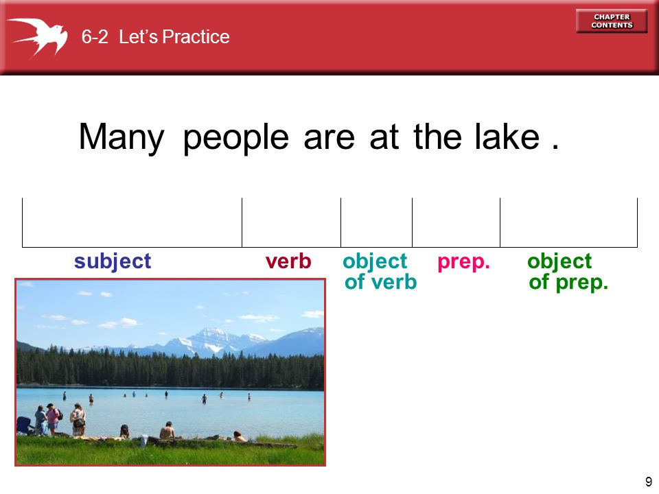 Many people are at the lake . of verb of prep. 6-2 Let's Practice