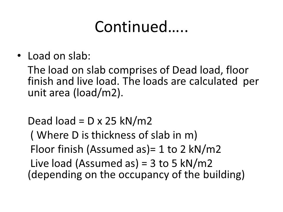Continued….. Load on slab: