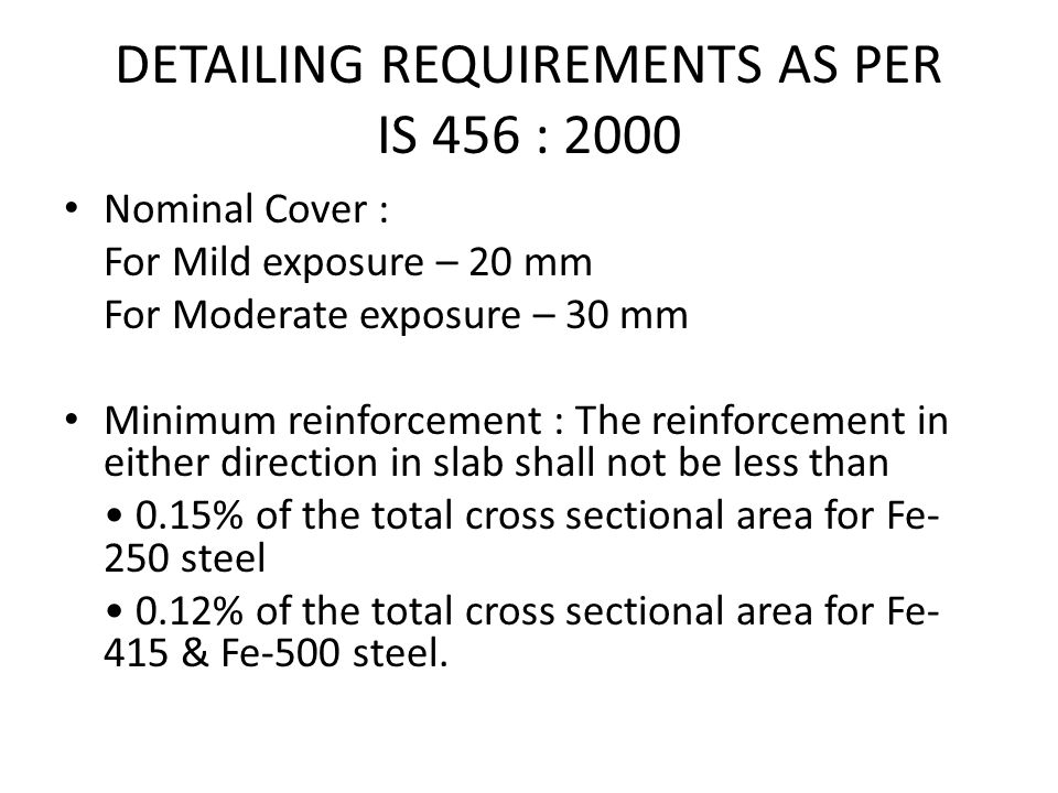 DETAILING REQUIREMENTS AS PER IS 456 : 2000