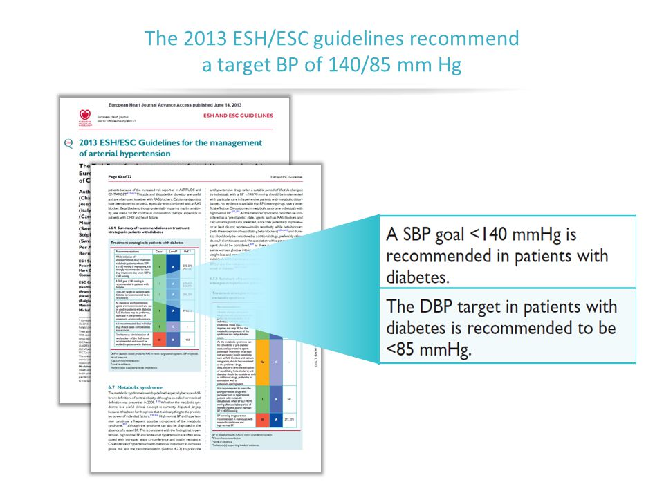The 2013 ESH/ESC guidelines recommend a target BP of 140/85 mm Hg