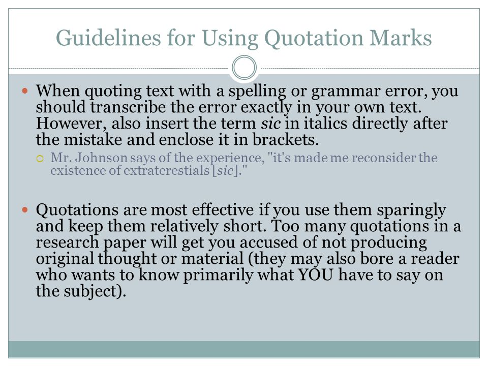 in a research paper what should be in quotation marks When writing a paper for a research project, you may need to cite a research paper you used as a reference the basic information included in your citation will be the same across all styles however, the format in which that information.