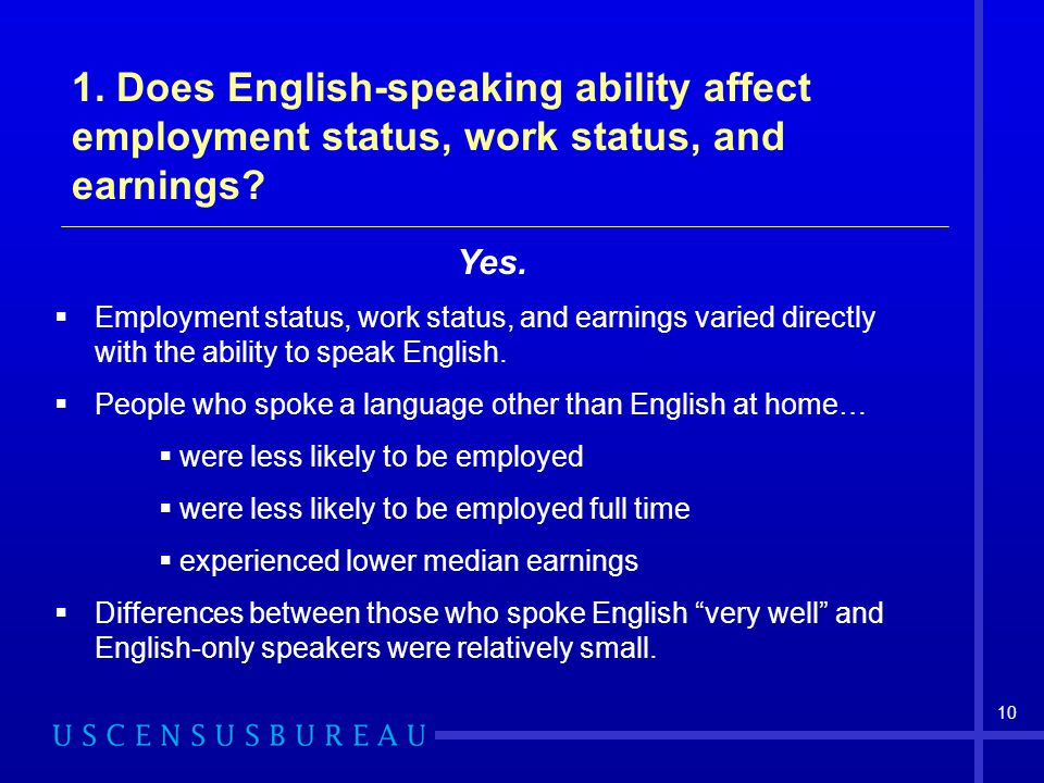 1. Does English-speaking ability affect employment status, work status, and earnings