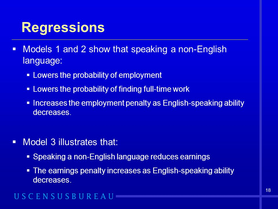 Regressions Models 1 and 2 show that speaking a non-English language: