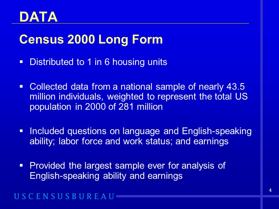 DATA Census 2000 Long Form Distributed to 1 in 6 housing units
