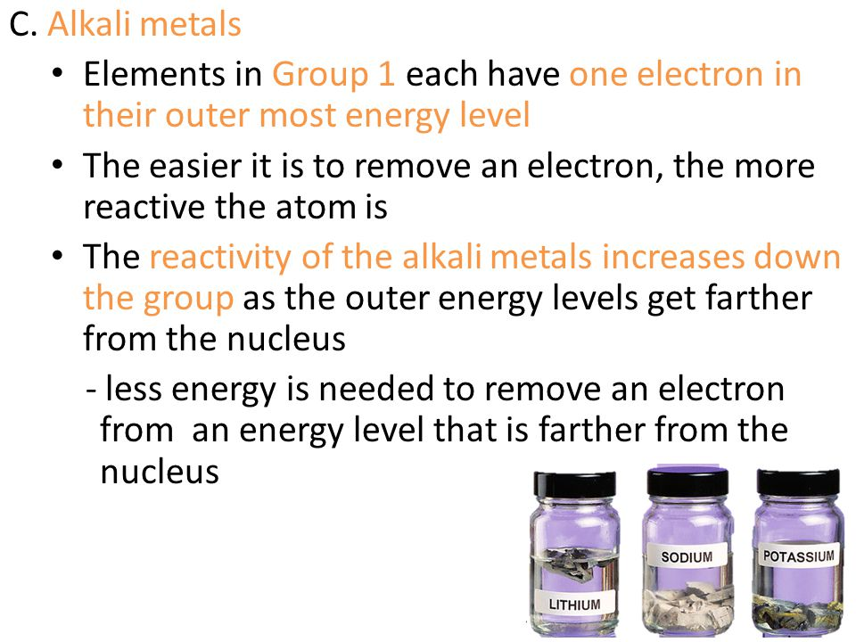 C. Alkali metals Elements in Group 1 each have one electron in their outer most energy level.