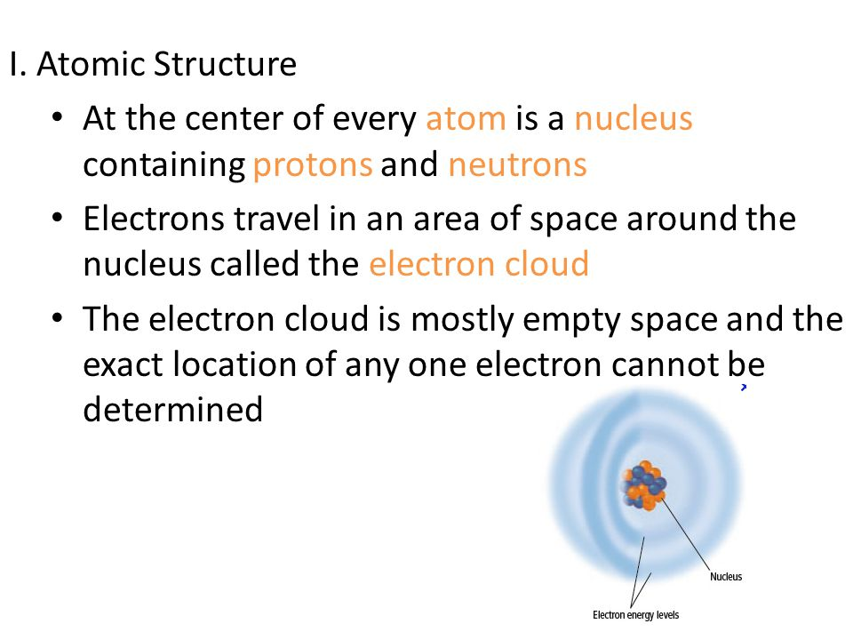 I. Atomic Structure At the center of every atom is a nucleus containing protons and neutrons.