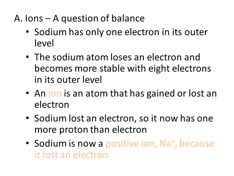 A. Ions – A question of balance