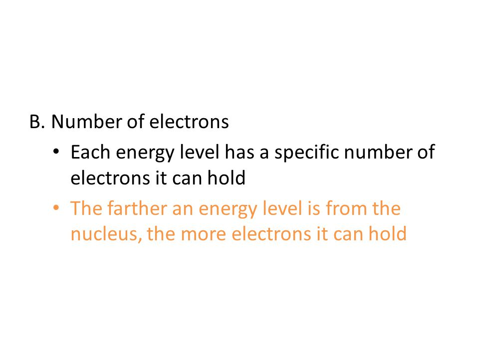 B. Number of electrons Each energy level has a specific number of electrons it can hold.