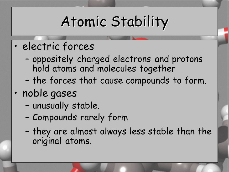 Atomic Stability electric forces noble gases