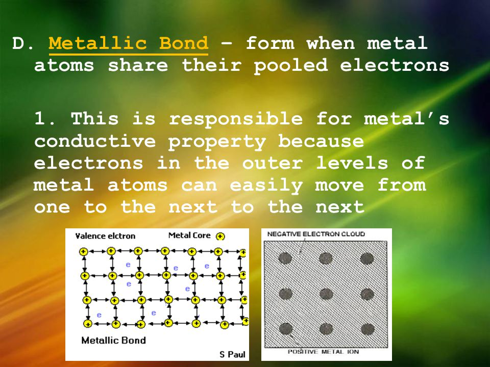 D. Metallic Bond – form when metal atoms share their pooled electrons 1. This is responsible for metal's conductive property because electrons in the outer levels of metal atoms can easily move from one to the next to the next