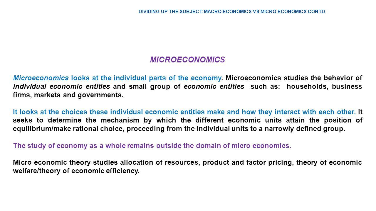 define micro and macro economics