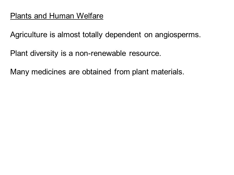 Plants and Human Welfare